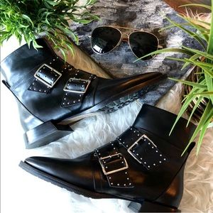 NWT Italian Leather Capezzani Studded Ankle Boots